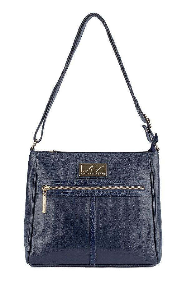 Bolsa Tiracolo feminina de couro Milena azul
