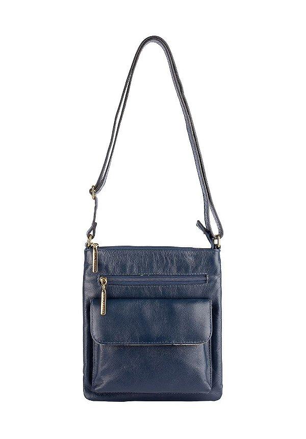 Bolsa Pequena Transversal de couro Alana azul