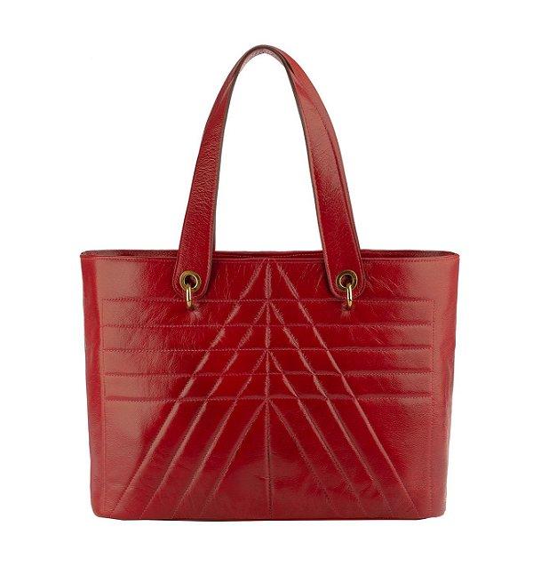 Bolsa Grande de couro legítimo Vânia vermelha