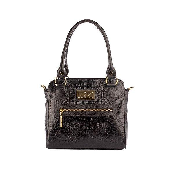 Bolsa de couro legítimo Amélia preta