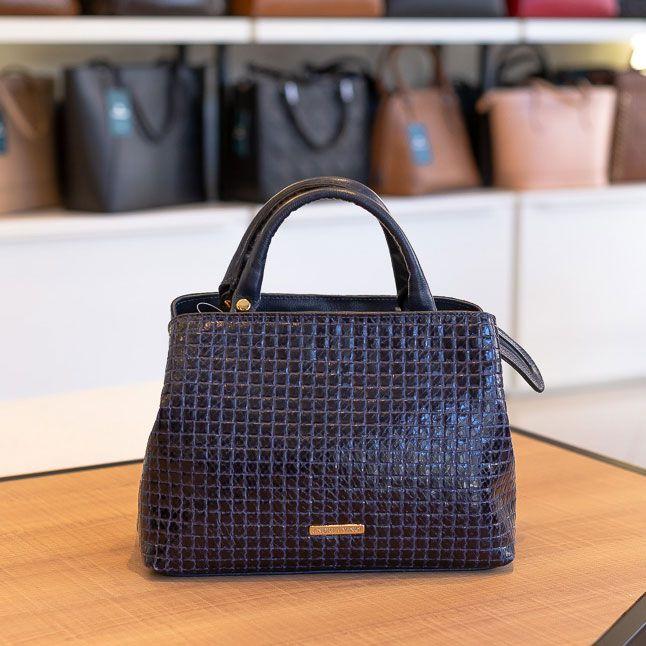 Bolsa de mão Melina em couro azul quadriculado