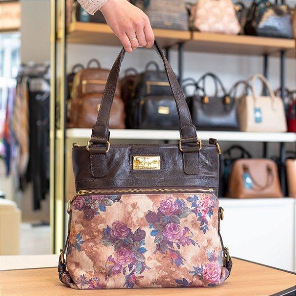 f2d7d7739 Bolsa duas em uma de couro legítimo café floral - Enluaze | Bolsas e ...