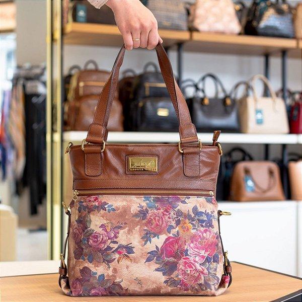 21c6232f8 Bolsa duas em uma de couro legítimo pinhão floral - Enluaze | Bolsas ...