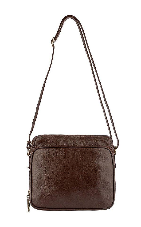 Bolsa tiracolo com divisórias Rita em couro café