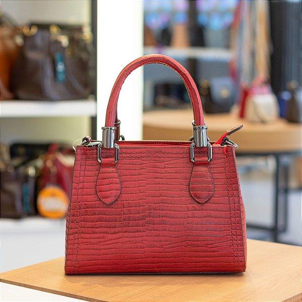 Mini bolsa de couro legítimo Andressa vermelha rebu