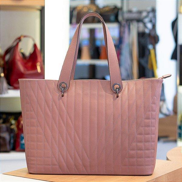 Bolsa grande de couro legítimo Vanessa rosa