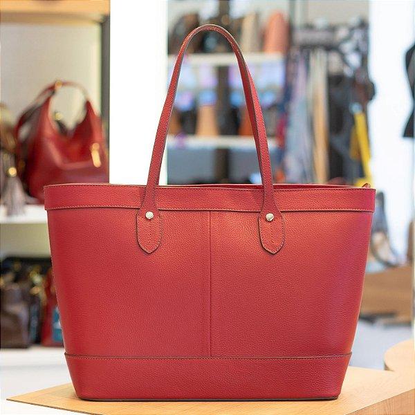Bolsa Shopping bag de couro Martha vermelha