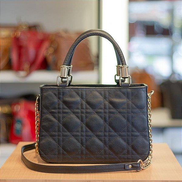 Bolsa de couro com alça de corrente Julia preta ouro