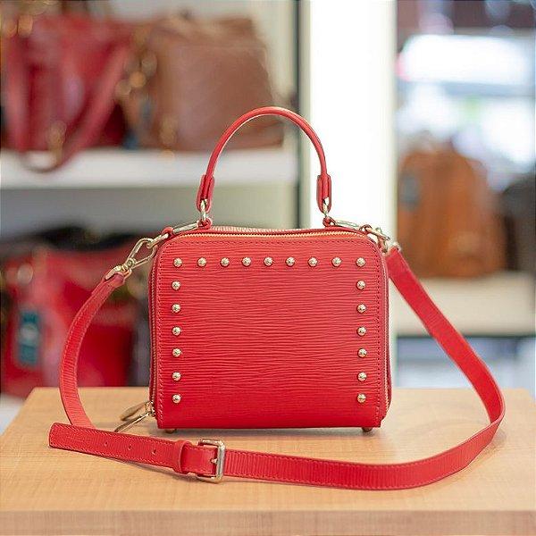 Mini bolsa de couro legítimo Roberta vermelho tramatto