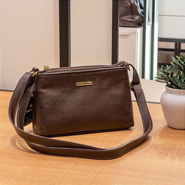 Bolsa Pequena Transversal de couro Iris café
