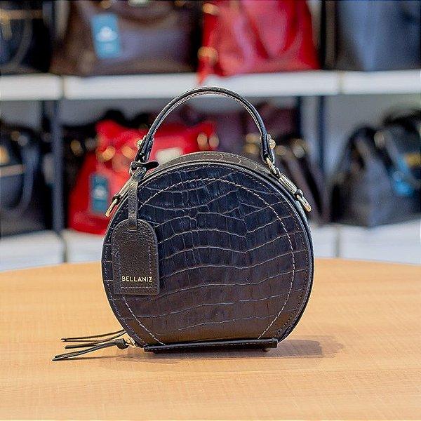 Mini bolsa redonda de couro legítimo Renata preta