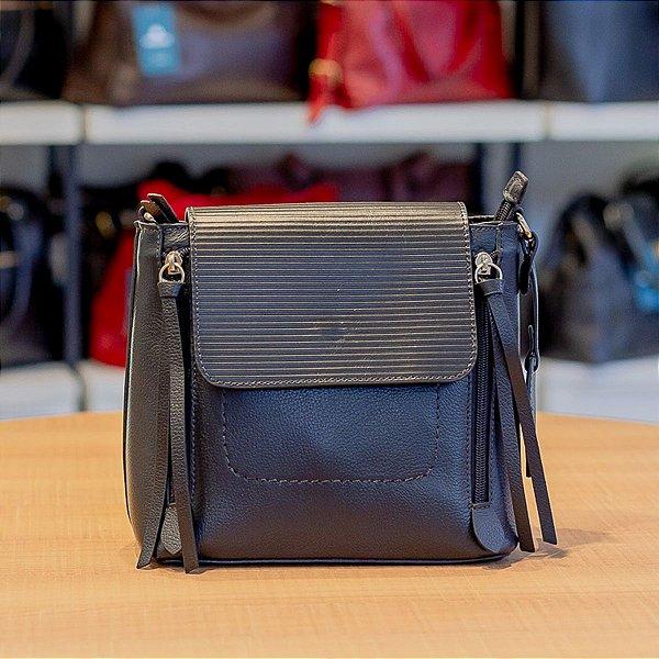 Mini mochila Vitória de couro legítimo preta