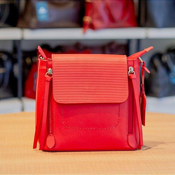 Mini mochila Vitória de couro legítimo vermelha