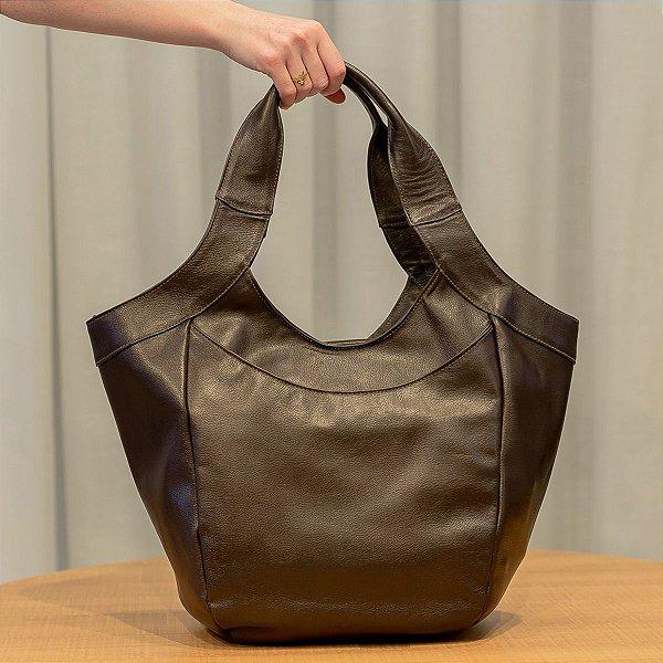 Bolsa saco grande de couro Cíntia Café