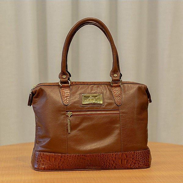 59265b345 Bolsa de couro legítimo Samantha pinhão - Enluaze | Bolsas e ...