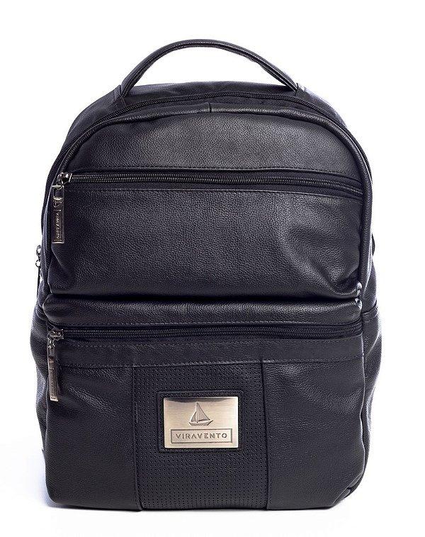 8e16a5013 Mochila masculina dois bolsos em couro legítimo Vira Vento preta ...
