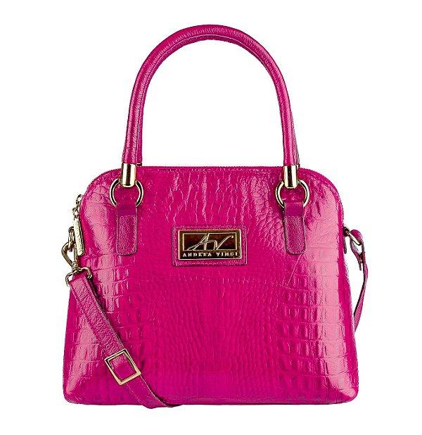 Bolsa de mão em couro Donna pink