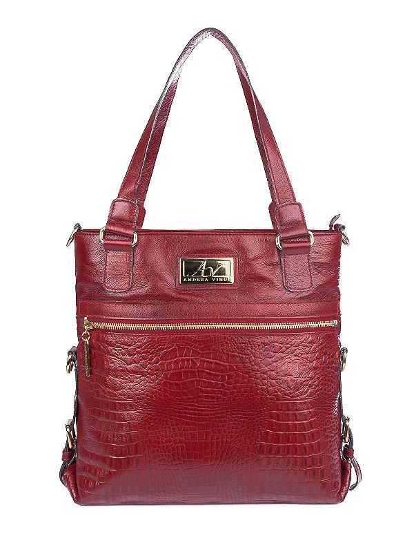 Bolsa duas em uma de couro legítimo vermelha