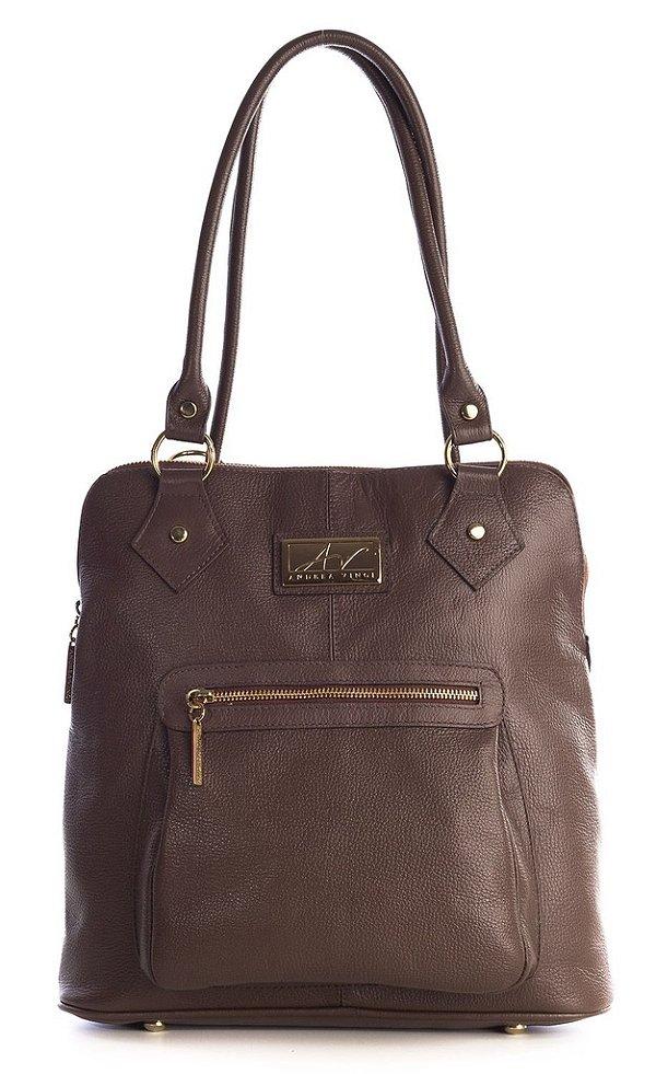 Bolsa mochila em couro legítimo chocolate
