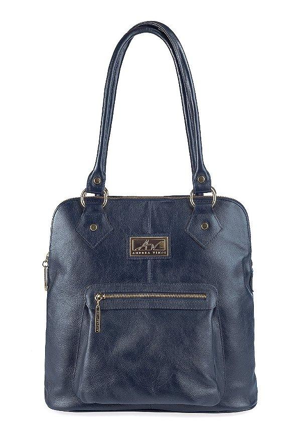 Bolsa De Couro Legitimo Azul : Bolsa mochila em couro andrea vinci azul enluaze loja