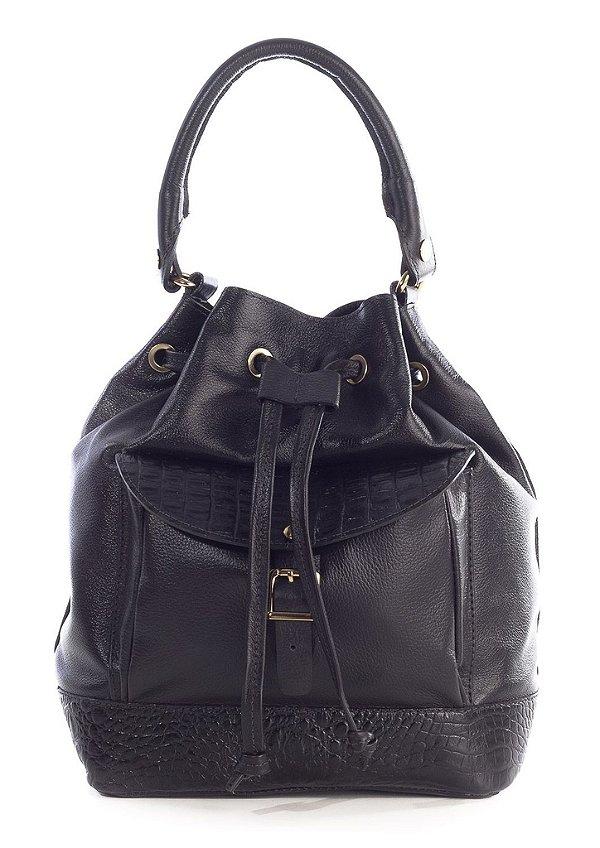 Bolsa saco com bolso em couro legítimo preta
