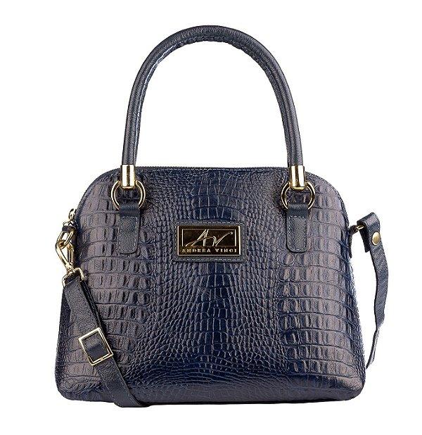 Bolsa de mão em couro Donna azul