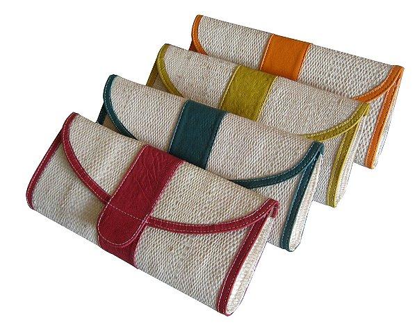 Clutch Bolsa Carteira de Mão em Palha de Buriti Cores