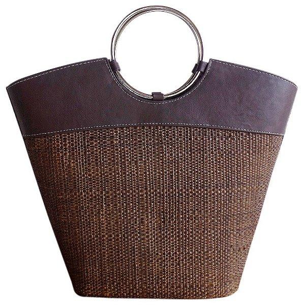 Bolsa de Palha Praia Com Alça Aro Metal Redonda Cores