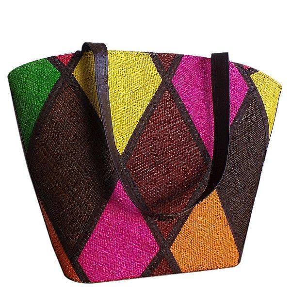 Bolsa de Praia em Palha Multicolor Alça de Mão ou Ombro
