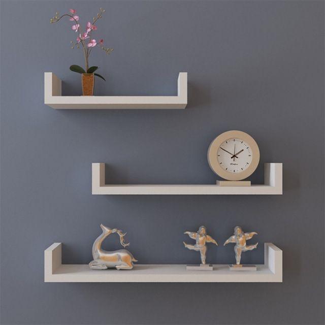 Kit Prateleira com 3 Peças - Branca - Design Clean