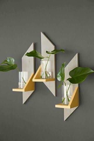 Prateleira para plantas - Suporte de parede em madeira  - Kit com 3 peças
