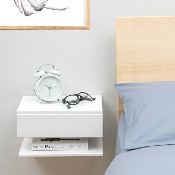 Mesa de Cabeceira Suspensa Branca para Livros - 100% MDF 18mm