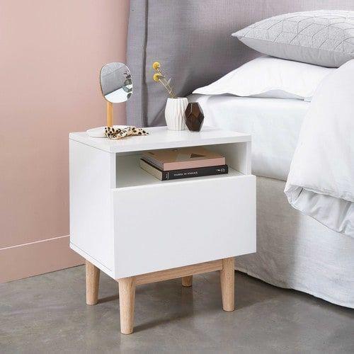 Mesa de Cabeceira Branca com Pés Compensato -  Uma Gaveta com Nicho - 100% MDF 18 mm
