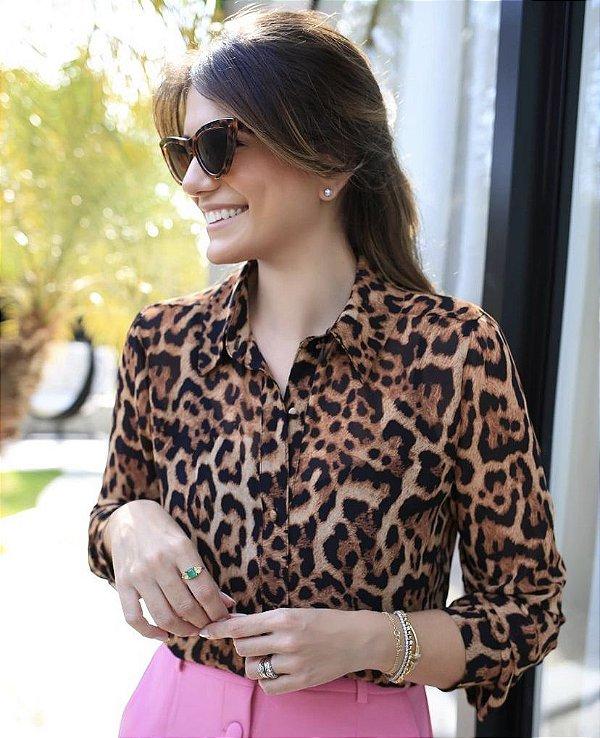 Camisa Animal Print Chiffon