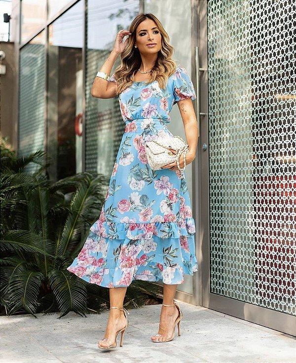 Vestido Midi Floral Decote Quadrado
