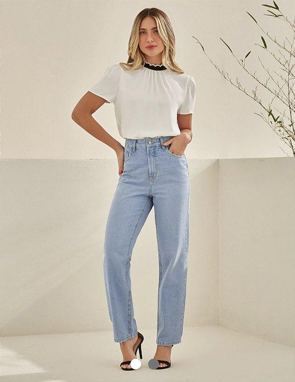 Calça Jeans Cropped Reta