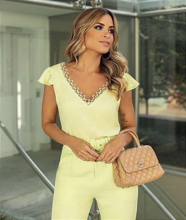 Blusa Crepe Decote V Lima