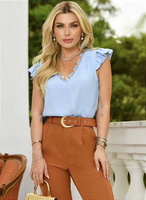 Blusa Crepe Decote Renda Chantilly