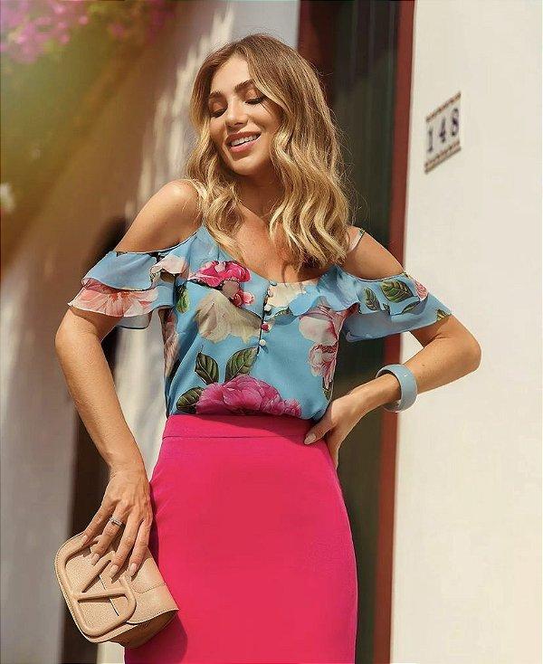 Blusa Floral Ombro Vazado Doce Flor