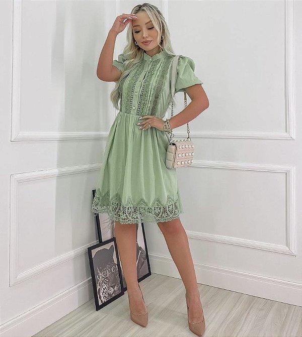 Vestido Tricoline Renda