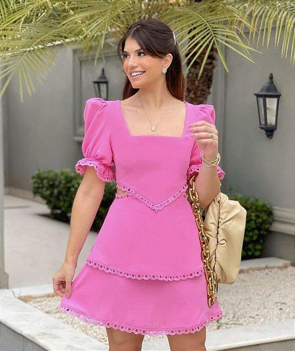 Vestido Crepe Renda - Lily