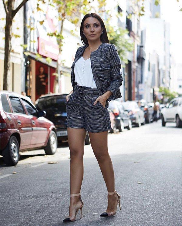 Shorts Tweed Brilho Fivela