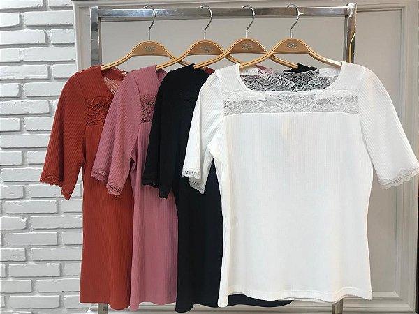 Blusa Malha Renda ( Cores)