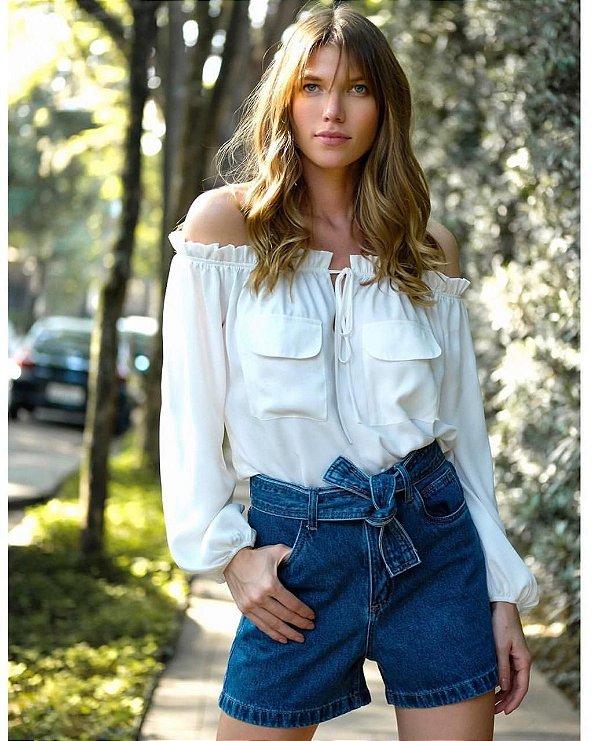 Shorts Jeans com faixa