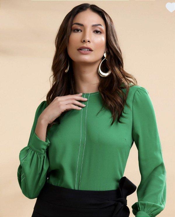 Blusa Crepe Pesponto - Verde Bandeira