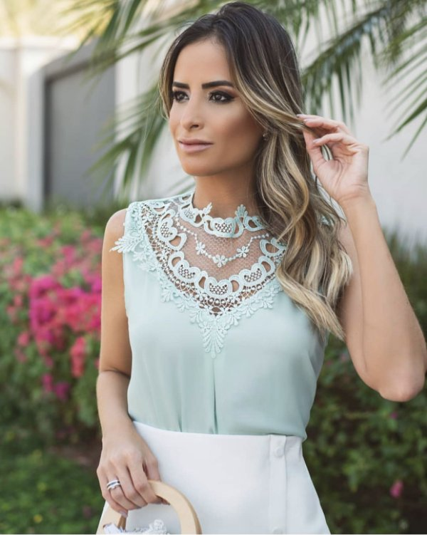Blusa Crepe Renda - Alessandra (Cores)