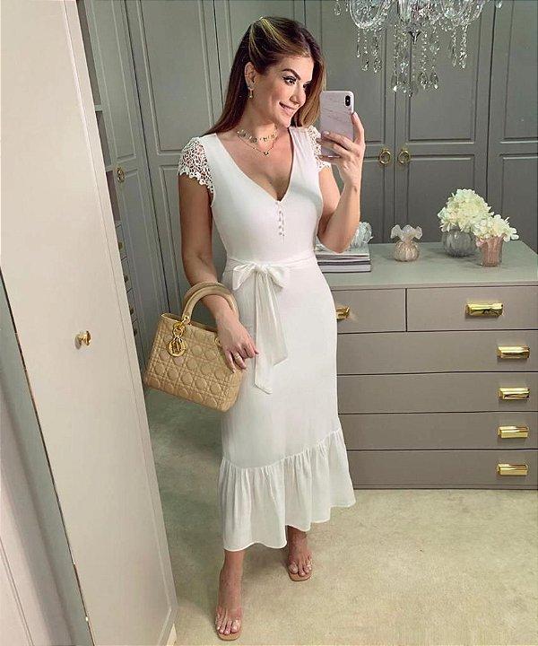 Vestido Viscose Manga Renda - Ariane