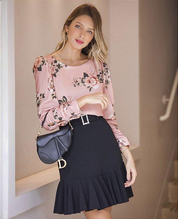 Blusa Floral Marisa (Bordo e Rosê)