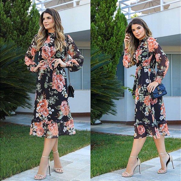 Vestido Midi Floral - Lanna