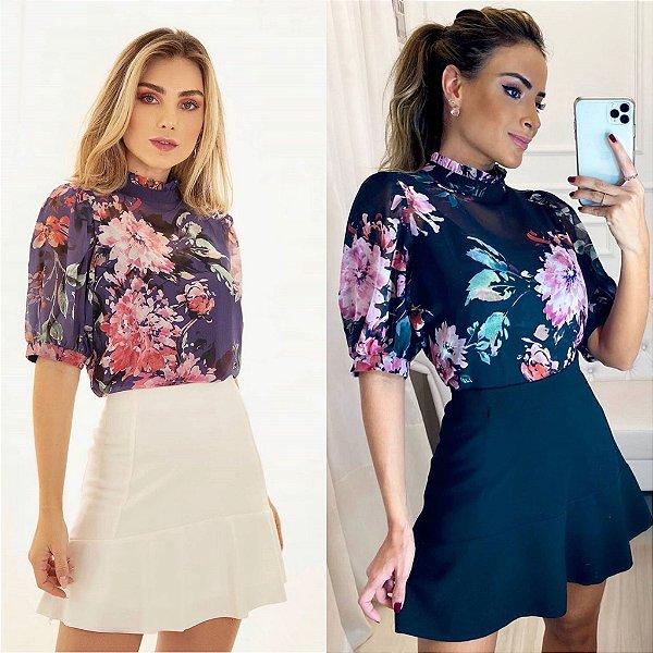 Blusa Floral + Regata  - Pietra ( Preto e Roxo)